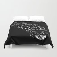 cheshire Duvet Covers featuring Cheshire Cat by Kellabell9