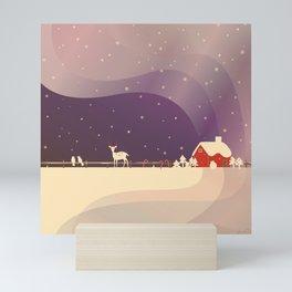 Peaceful Snowy Christmas (Plum Purple) Mini Art Print
