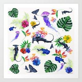 tropical shark pattern Art Print