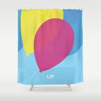 movie poster Shower Curtains featuring Up - alternative movie poster by Kate Syska Design
