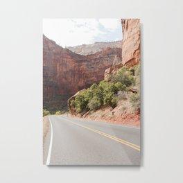 Road Trough Zion National Park Photo | Colors Of Utah Landscape Art Print | USA Travel Photography Metal Print