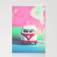 vw bus Stationery Cards featuring Red & White VW Bus by Anna Dykema Photography