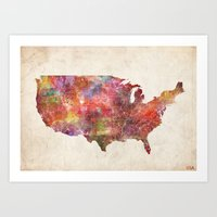 usa Art Prints featuring USA map by MapMapMaps.Watercolors