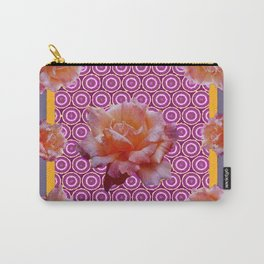 GREY ABSTRACT ANTIQUE ROSES FUCHSIA FLORAL Carry-All Pouch