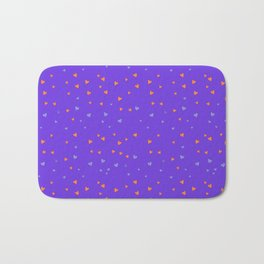 St. Valentine's Day Pattern. Lilac pattern, blue and yellow small hearts Bath Mat