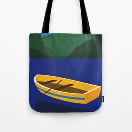 Boat On The Mountain Lake Tote Bag
