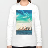 skyline Long Sleeve T-shirts featuring NYC Skyline by Vivienne Gucwa
