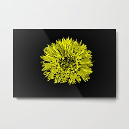 Stamped Wildflower in Yellow and Black Metal Print