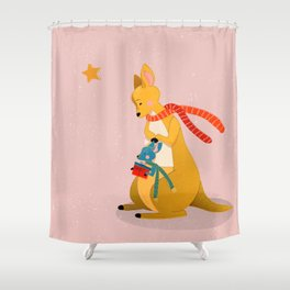 Baby Kangaroo first Christmas Shower Curtain