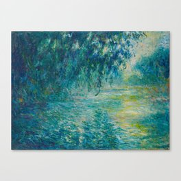 Claude Monet Impressionist Landscape Oil Painting Morning on the Seine Canvas Print
