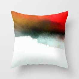 Red, Teal and White Abstract Throw Pillow