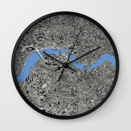 Map of London Thames Drawing Wall Clock