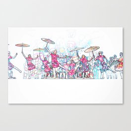 Ballerinas Dancing with Umbrellas Canvas Print