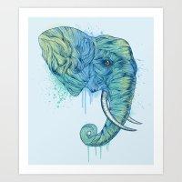 portrait Art Prints featuring Elephant Portrait by Rachel Caldwell