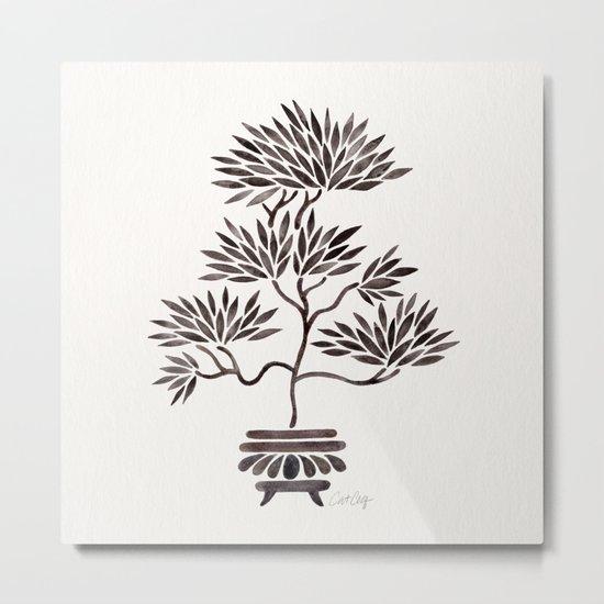 Bonsai Tree – Black Palette Metal Print