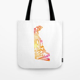 Typographic Delaware - orange watercolor map Tote Bag