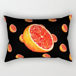 Grapefruit Pattern - Black Rectangular Pillow