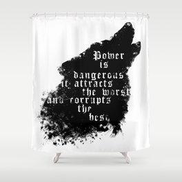 power - is dangerous wolf illustration Shower Curtain