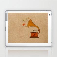 Vintage grammophone with music splashes on brown  Laptop & iPad Skin