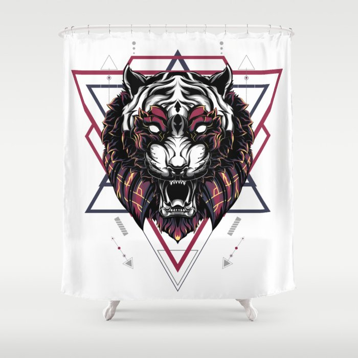 The Mythical Tiger Sacred Geometry Shower Curtain