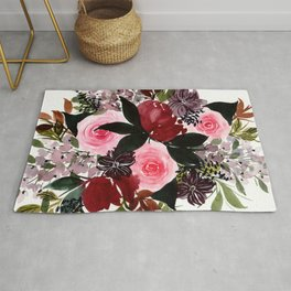 Burgundy Rose Flower Bouquet Watercolor Painting - Purple Palette Rug