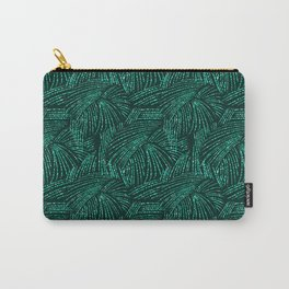 Elegant abstract black emerald green tropical palm tree Carry-All Pouch