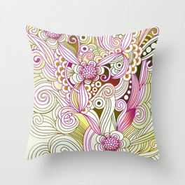 Flower fire | yellow, purple, green and ocre Throw Pillow