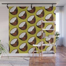 Coconut Pattern - Green Wall Mural