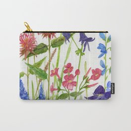Garden Flowers Botanical Floral Watercolor on Paper Carry-All Pouch