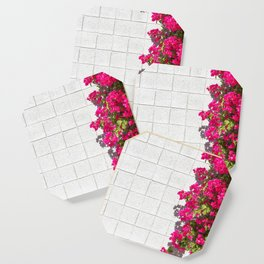 Bougainvilleas and White Brick Wall in Palm Springs, California Coaster