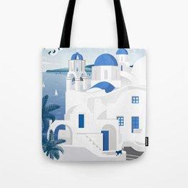 Vintage Santorini poster Tote Bag