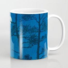 Vintage Japanese Woodblock Print Three Tall Trees At Night Forest Field Landscape Coffee Mug