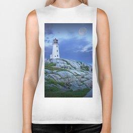 Lighthouse at Peggy's Cove in the Moonlight Biker Tank