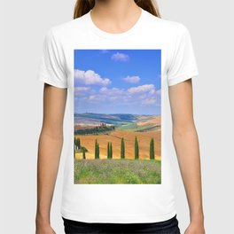 Cypress trees and meadow with typical tuscan house T-shirt