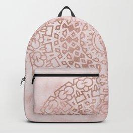 Misty pink marble rose gold mandala Backpack