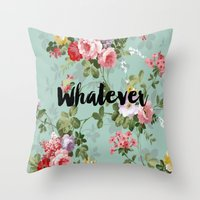 clueless Throw Pillows featuring Whatever Clueless  by Crimson and Clover Studio