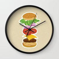 burger Wall Clocks featuring Burger by Daily Design