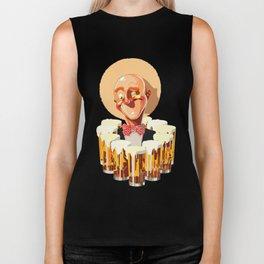 Happy bald man with beers Biker Tank
