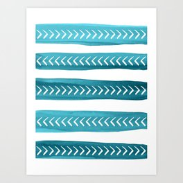 Teal Tribal Brushstrokes Watercolor Pattern Art Print