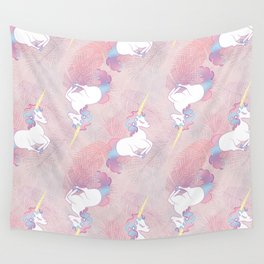 Unicorn on Palm Leaves Wall Tapestry