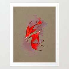 Red Fish in lines Art Print