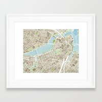 boston map Framed Art Prints featuring Boston Sepia Watercolor Map by Anne E. McGraw