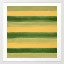 Green and Yellow Gouache Stripes Painted Pattern Art Print