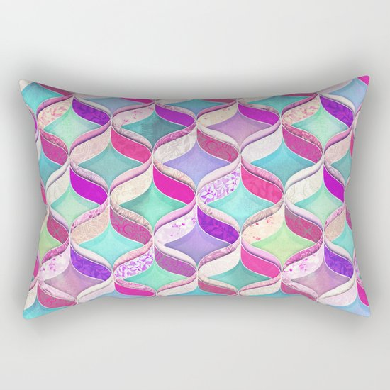 Patchwork Ribbon Ogee Pattern with Pink & Purple Rectangular Pillow