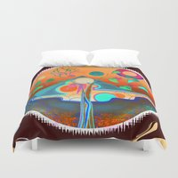 pyramid Duvet Covers featuring pyramid by Lara Gurney