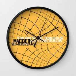 Macbeth 'Tomorrow and Tomorrow' - Shakespeare Quote Art - typography print Wall Clock