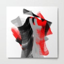 dancing abstract red white black grey digital art Metal Print