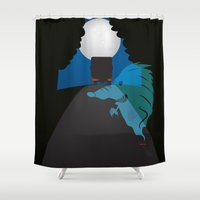 punisher Shower Curtains featuring ghost hedgehog  by mangulica