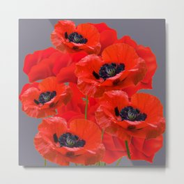 MONTAGE OF RED ORIENTAL POPPIES GREY COLOR ART Metal Print