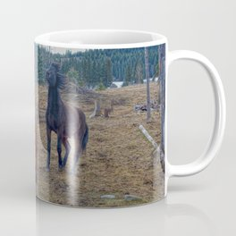 The Challenge - Ranch Horses Fighting Coffee Mug